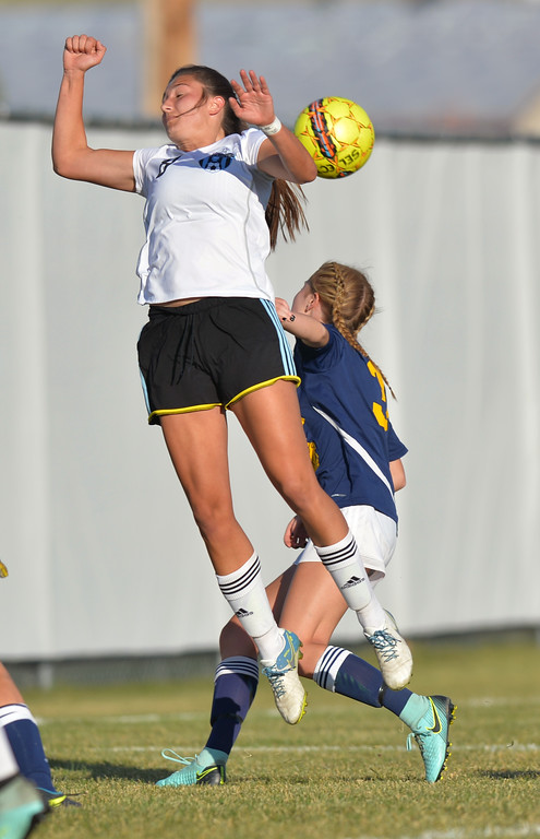 Sidney Burrell just misses a header off a corner kick during Sheridan College's Region IX Tournament match against Trinidad State Junior College on Friday, Oct. 20 at Maier Field. Mike Pruden | The Sheridan Press