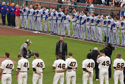 • John Legend sings the national anthem pt.2  Giants vs Rangers - World Series Game #1 October 27, 2010 - AT&T Park, San Francisco, CA