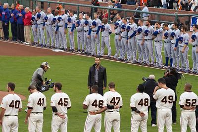 • John Legend sings the national anthem pt.2  Giants vs Rangers - World Series Game #1 October 27, 2010 - AT&T Park, San Francisco, CA