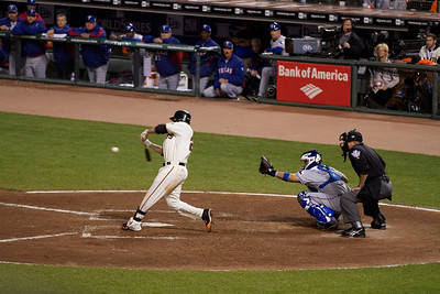 • Sanchez Double #3  Giants vs Rangers - World Series Game #1 October 27, 2010 - AT&T Park, San Francisco, CA