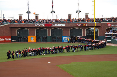 • Flag Bearers  Giants vs Rangers - World Series Game #1 October 27, 2010 - AT&T Park, San Francisco, CA