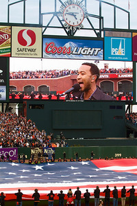 • John Legend sings the national anthem  Giants vs Rangers - World Series Game #1 October 27, 2010 - AT&T Park, San Francisco, CA