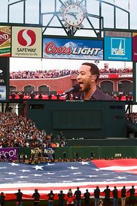 • John Legend sings the national anthem  Giants vs Rangers - World Series Game #1 October 27, 2010 - AT&T Park, San Francisco, CA