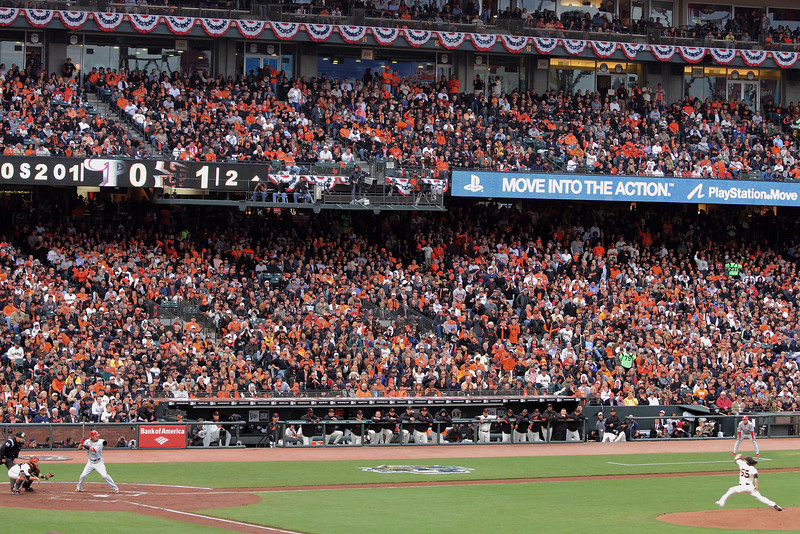 Tim Lincecum pitches to Jason Werth of the Philadelphia Philles in Game 5 of the 2010 NLCS at AT&T Park.