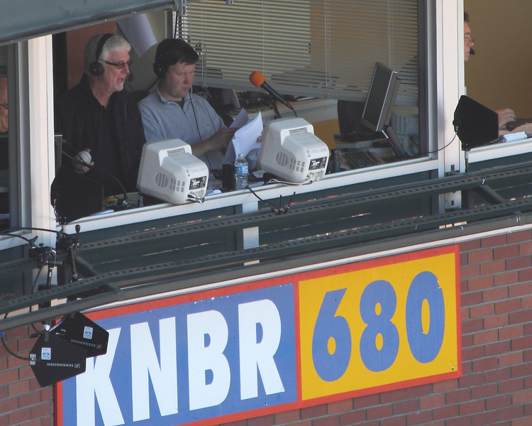 """Broadcasting legend Mike Krukow (""""Grab some pine, meat!"""") and Dave Fleming calling the game for KNBR."""
