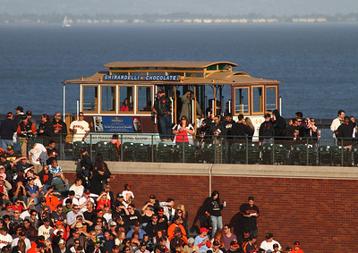 The iconic cable car in center field at AT&T Park.