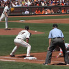 "Matt Cain keeping the Phils' Shane Victorino (""The Cryin' Hawaiian"") close at first."