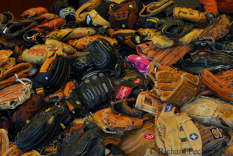 Pile of Gloves collected at Junior Giants Glove Drive at AT&T Park, 6.9.07