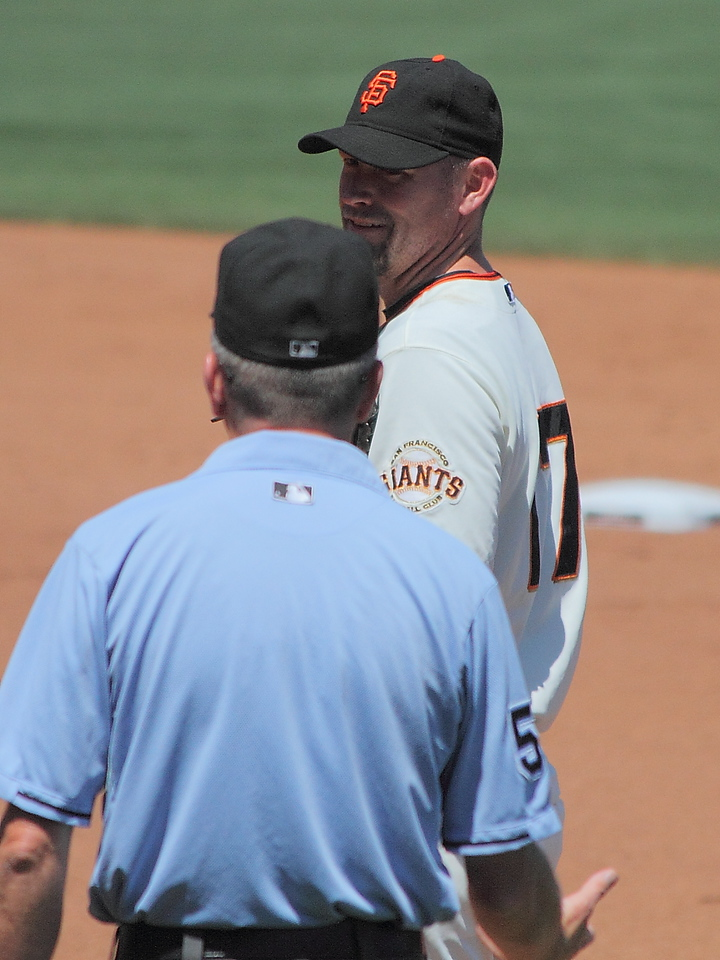 Aubrey Huff has a word with the first base umpire.