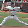Javier Lopez with the low sidearm delivery to left handed hitters.