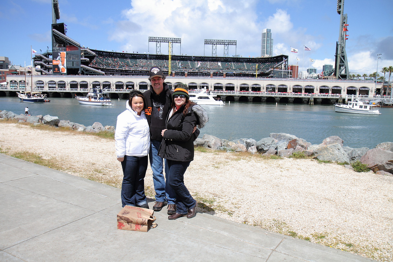 With McCovey Cove and AT&T Park in the background.