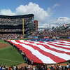 Flag and fly-over on opening day at AT&T Park.   April 13, 2012.