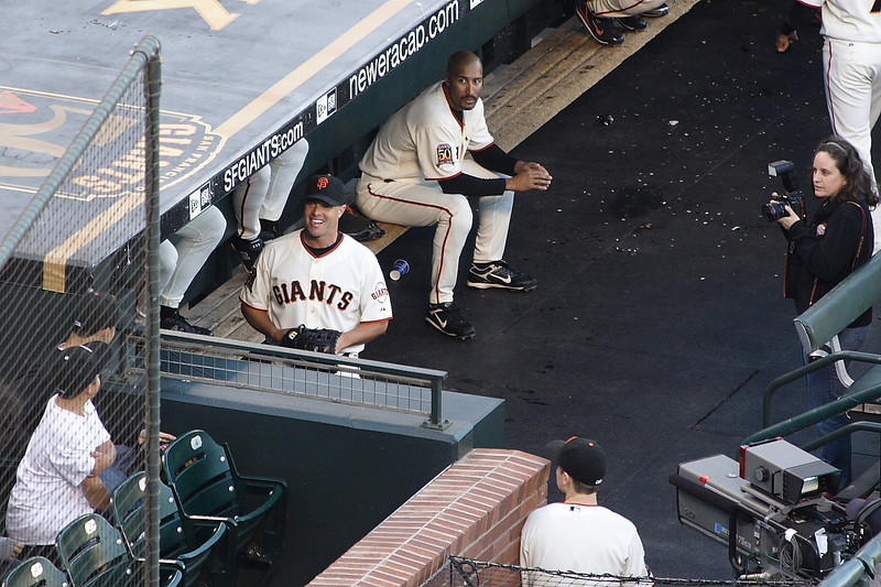 JT Snow talks with a fan as Randy Winn looks on.  Snow was officially retired as a Giant on this day in September 2008.