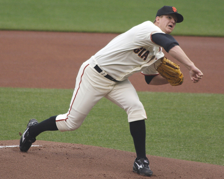 Matt Cain, the longest-tenured of the Giants in 2010,  throws a changeup in early 2009.