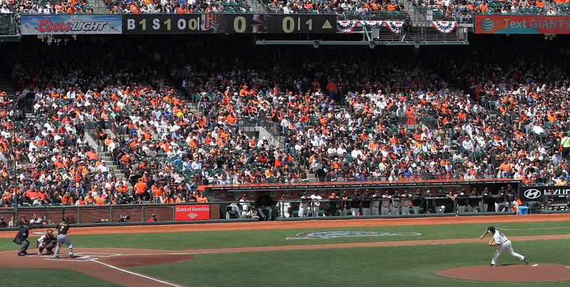 Matt Cain pitches to Elvis in the first inning on Opening Day, April 13, 2012.