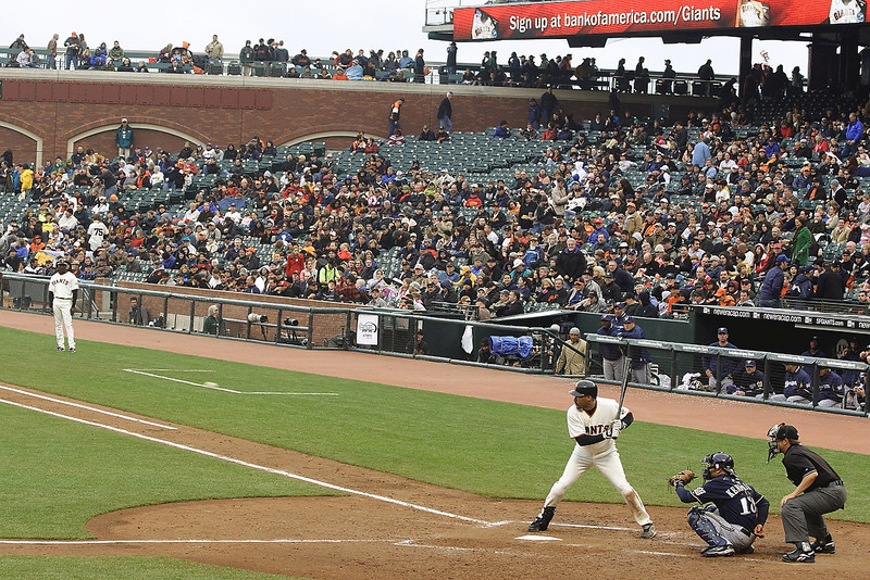 Randy Winn eyes a pitch coming in against the Milwaukee Brewers in April 2009.