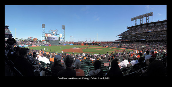 "Panorama shot at AT&T park on June 2, 2012 before a ""Turn Back the Clock"" game, with the Giants and Cubs donning uniforms from 1912."