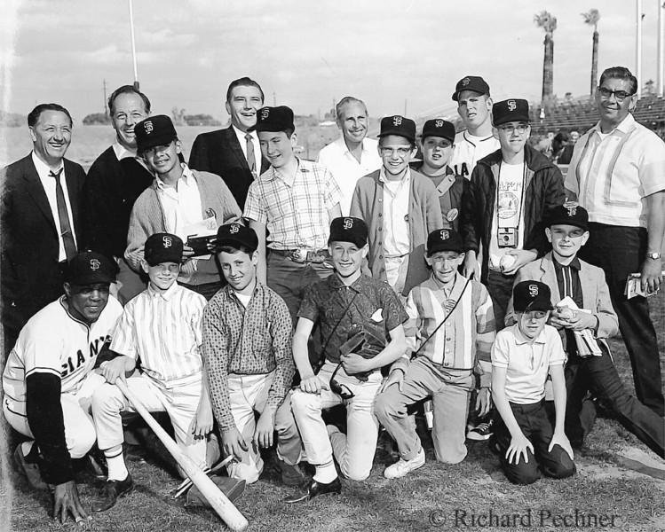 Richie Pechner & Willie Mays at Scotsdale, AZ, Spring Training 4.20.1961,  with the Independent Journal Newspaper Carriers.