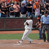 The Panda steps on home plate after hitting a home run against Philly.