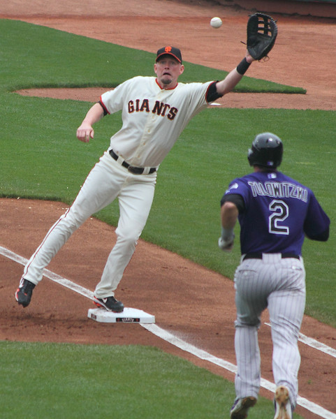Aubrey Huff is a little surprised to have to reach for this one.