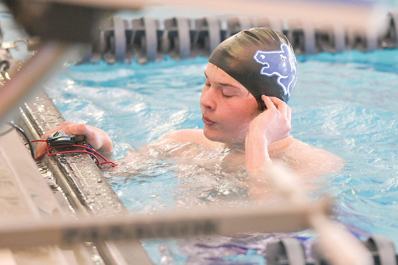 Ashleigh Snoozy | The Sheridan Press<br>Sheridan's Jared Thompson breathes after finishing the 400-meter freestyle at the Broncs' home meet at Sheridan Junior High School Saturday, Jan. 11, 2020.