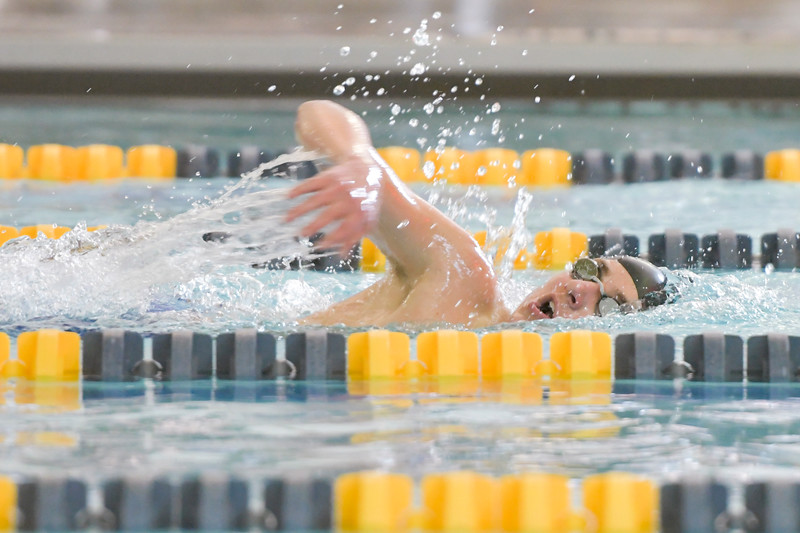 Ashleigh Snoozy | The Sheridan Press<br>Sheridan's Evan Feck competes in the 400-meter freestyle at the Broncs' home meet at Sheridan Junior High School Saturday, Jan. 11, 2020.