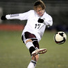Silver Creek's Alex Martin kicks the ball down field against Centaurus during their soccer game at Everly Montgomery Stadium at Longmont High School in Longmont, Colorado October 27, 2009. CAMERA/Mark Leffingwell