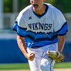Vikings starting pitcher Anthony Simonelli (22) celebrates a strike out that got him out of a tough inning in the game against Santa Fe on Monday. Fran Ruchalski/Palatka Daily News