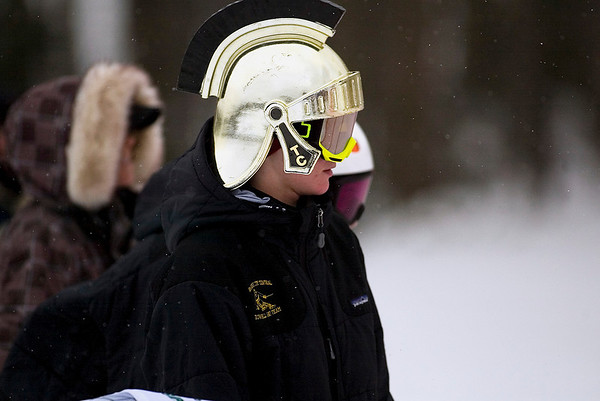Record-Eagle/Jan-Michael Stump<br /> Traverse City Central's Jack Noble watches the boys slalom in Monday's state finals at Boyne Highlands.