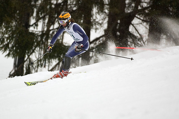 Record-Eagle/Jan-Michael Stump<br /> Traverse City Central's Briggs Chapman runs the slalom in the state finals Monday at Boyne Highlands.