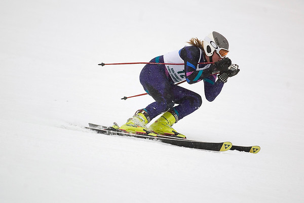 Record-Eagle/Jan-Michael Stump<br /> Traverse City Central's Chris Carefoot runs the giant slalom in the state finals Monday at Boyne Highlands.