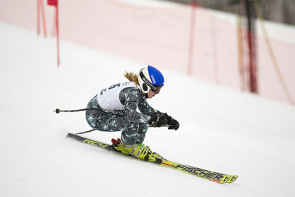 Record-Eagle/Jan-Michael Stump<br /> Marquette's Piper Mlsna runs the giant slalom in the  state finals Monday at Boyne Highlands.