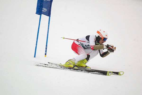 Record-Eagle/Jan-Michael Stump<br /> Traverse City West's Lee Batcha runs the giant slalom in the  state finals Monday at Boyne Highlands.