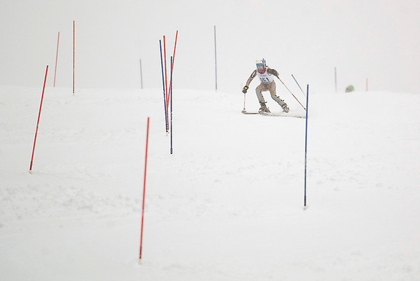 Record-Eagle/Jan-Michael Stump<br /> TRaverse City Central's Adrienne Bruder runs the slalom in the state finals Monday at Boyne Highlands.