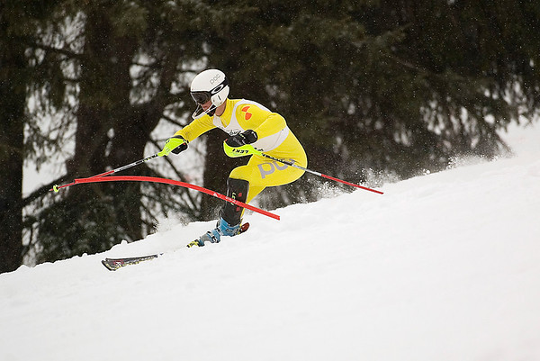 Record-Eagle/Jan-Michael Stump<br /> Traverse City West's Joey Caraccio  runs the slalom in the  state finals Monday at Boyne Highlands.