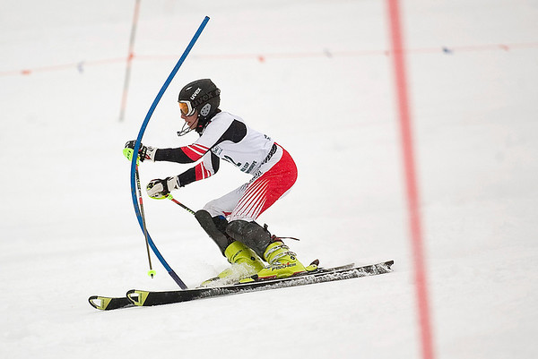 Record-Eagle/Jan-Michael Stump<br /> Traverse City West's Lee Batcha runs the slalom in the state finals Monday at Boyne Highlands.