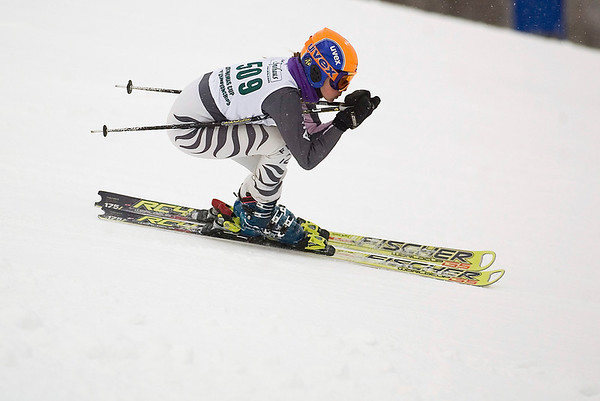 Record-Eagle/Jan-Michael Stump<br /> Traverse City Central's Mallory Weaver runs the giant slalom in the  state finals Monday at Boyne Highlands.