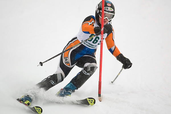 Record-Eagle/Jan-Michael Stump<br /> Traverse City West's Mary Mikko runs the slalom in the state finals Monday at Boyne Highlands.