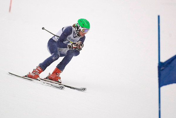 Record-Eagle/Jan-Michael Stump<br /> Traverse City Centrals' Briggs Chapman runs the giant slalom in the  state finals Monday at Boyne Highlands.