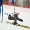 Record-Eagle/Jan-Michael Stump<br /> Traverse City West's Nicole Schroeder runs the giant slalom in the state finals Monday at Boyne Highlands.