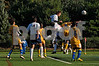 SSHS #9 Captain Colin Serling, scores his first goal.#21 Max Post at his side, scorer of winning shootout kick, and #3 Michael Kladias. RHS #6 Marlon Letlow. October 28th, 2007. Photo by Kathy Leistner