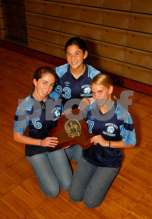 Southside 2007 NYSPHS State Girls Soccer Champions, L- R Molly Bralower, Katie Starsia, anad Katie Norwood. Photo by Kathy Leistner