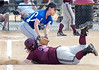 D-B's #34, Courtney Wilcox, dives safe back into first as Gate City's #32, Jordan Lovelace, makes the tag. Photo by Ned Jilton II