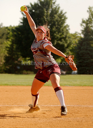#22 Clarke Pitcher Danielle Iovina threw a four hitter, walked 3 and struck out seven. Photo by Kathy Leistner