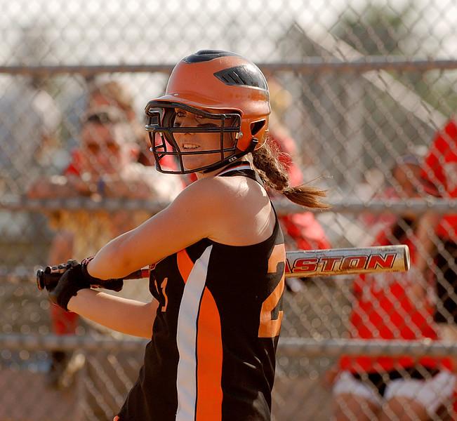 #21 Kelly Humes, 1B, at bat. Photo by Kathy Leistner