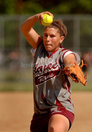 Danielle Iovino, Clarke pitcher. Photo by Kathy Leistner