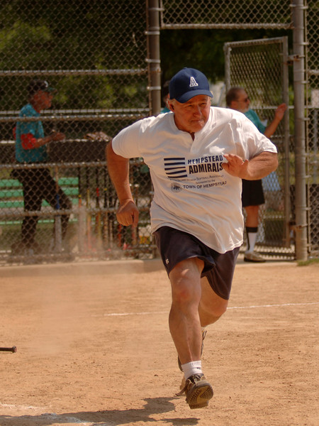 Peter Dill, #19, Little Neck on his way to 1st base. Town of Hempstead Admirals. May 30th, 2007  Photo by Kathy Leistner.