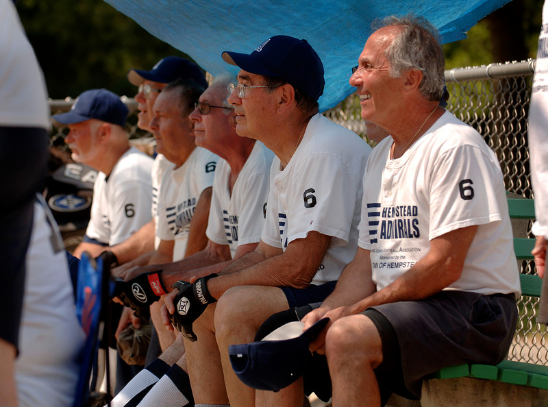 Far R - #18 Ralph Cammarota, Elmont, sits with Town of Hempstead Admiral teamates. Photo by Kathy Leistner