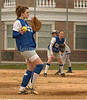 VSCHS Sophmore pitcher Katie Guarneri with 1st basman, Junior, Meghan Walsh, #5, looks on.  VSCHS vs Calhoun, April 13th, 2007. Photo by Kathy Leistner