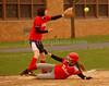 #10 Catcher VSSouth, Geanna Matteo slides into 3d, Friends Academy M. Bernstein reaches for the ball. VSSHS vs Friends, April 17th, 2007. Photo by Kathy Leistner